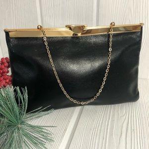 Vintage Etra Black Leather Clutch Gold Chain Purse